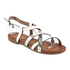 Białe sandały vinceza szare 1