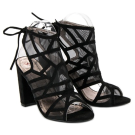 Seastar Ażurowe sandały na słupku czarne 4