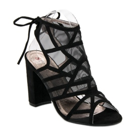 Seastar Ażurowe sandały na słupku czarne 1