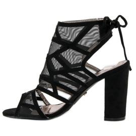 Seastar Ażurowe sandały na słupku czarne 2