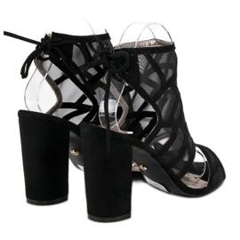Seastar Ażurowe sandały na słupku czarne 3