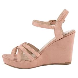 Seastar Zamszowe sandały na koturnie różowe 2