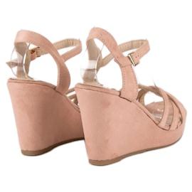 Seastar Zamszowe sandały na koturnie różowe 3