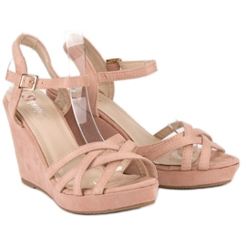 Seastar Zamszowe sandały na koturnie różowe 4