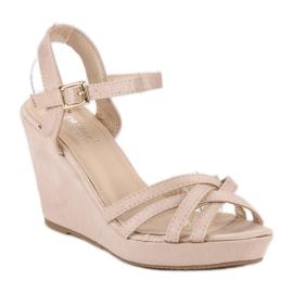 Seastar Zamszowe sandały na koturnie brązowe 1
