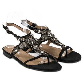 Corina Eleganckie sandały japonki czarne szare 5