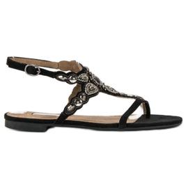 Corina Eleganckie sandały japonki czarne szare 1
