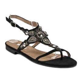 Corina Eleganckie sandały japonki czarne szare 2