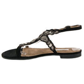 Corina Eleganckie sandały japonki czarne szare 3