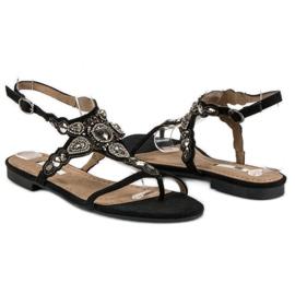Corina Eleganckie sandały japonki czarne szare 4