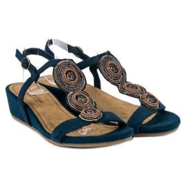 Corina Granatowe sandały na niskiej koturnie 3