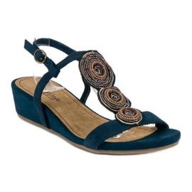 Corina Granatowe sandały na niskiej koturnie 1