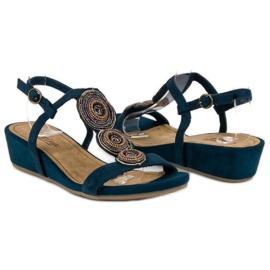 Corina Granatowe sandały na niskiej koturnie 4