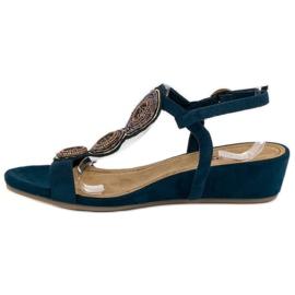 Corina Granatowe sandały na niskiej koturnie 2