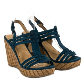 Corina Granatowe sandały na koturnie 4