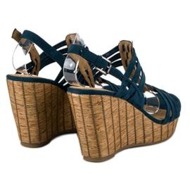 Corina Granatowe sandały na koturnie 3