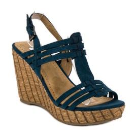 Corina Granatowe sandały na koturnie 1