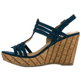 Corina Granatowe sandały na koturnie 2