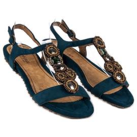 Corina Stylowe Płaskie Sandały niebieskie 3