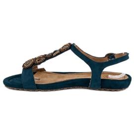 Corina Stylowe Płaskie Sandały niebieskie 1
