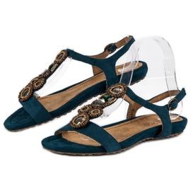 Corina Stylowe Płaskie Sandały niebieskie 2