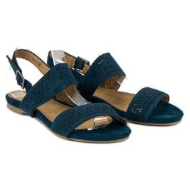 Corina Zamszowe płaskie sandałki niebieskie 4