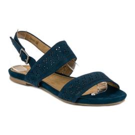 Corina Zamszowe płaskie sandałki niebieskie 1