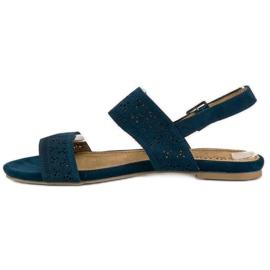 Corina Zamszowe płaskie sandałki niebieskie 2