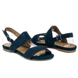 Corina Zamszowe płaskie sandałki niebieskie 3