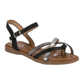 Small Swan Klasyczne czarne sandały szare 1
