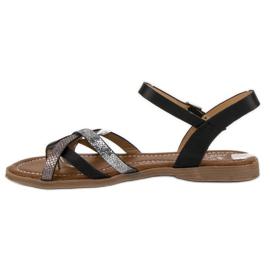 Small Swan Klasyczne czarne sandały szare 2