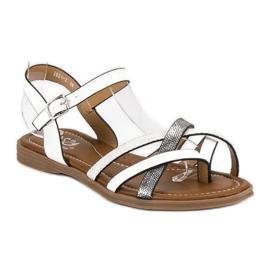 Small Swan Klasyczne białe sandały szare 1