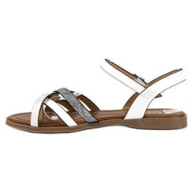 Small Swan Klasyczne białe sandały szare 2
