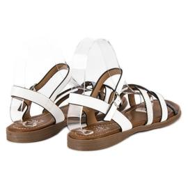 Small Swan Klasyczne białe sandały szare 3