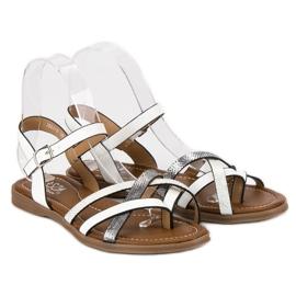Small Swan Klasyczne białe sandały szare 4