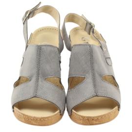 Sandały Na Koturnie Szare Gregors 533 3