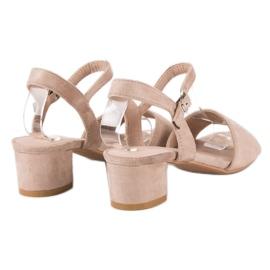 Ideal Shoes Zamszowe sandały na niskim obcasie brązowe 4