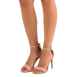 Seastar Zamszowe sandały na szpilce różowe 1