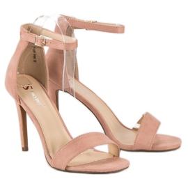 Seastar Zamszowe sandały na szpilce różowe 4