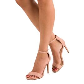 Seastar Zamszowe sandały na szpilce różowe 6