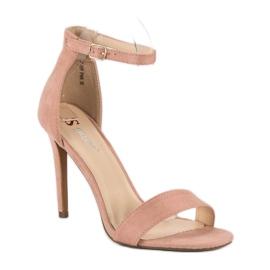 Seastar Zamszowe sandały na szpilce różowe 2