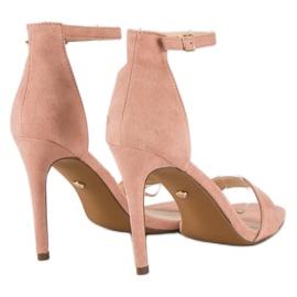 Seastar Zamszowe sandały na szpilce różowe 3