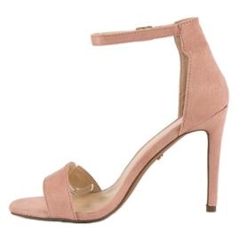 Seastar Zamszowe sandały na szpilce różowe 5