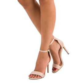 Seastar Zamszowe sandały na szpilce brązowe 1