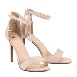 Seastar Zamszowe sandały na szpilce brązowe 5