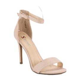 Seastar Zamszowe sandały na szpilce brązowe 2