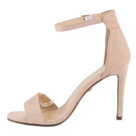 Seastar Zamszowe sandały na szpilce brązowe 3