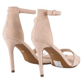 Seastar Zamszowe sandały na szpilce brązowe 4