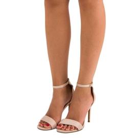 Seastar Zamszowe sandały na szpilce brązowe 6