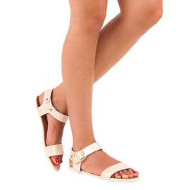 Beżowe sandały płaskie vices beżowy 4